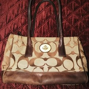 Old school Coach shoulder bag tan and bronze with